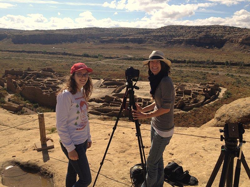 NMPBS KNME Rachel Hendrix, Tara Walch filming on location at Chaco Canyon
