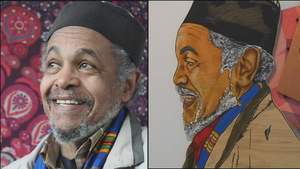 A side-by-side image of a person and a drawing of that person