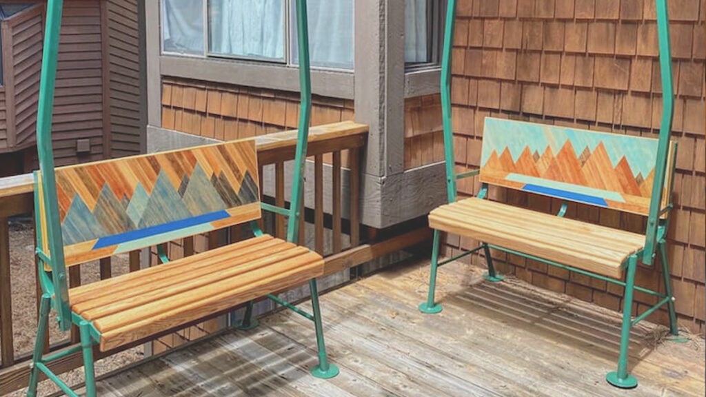 Two painted Ski Lifts Coverted into outdoor seating