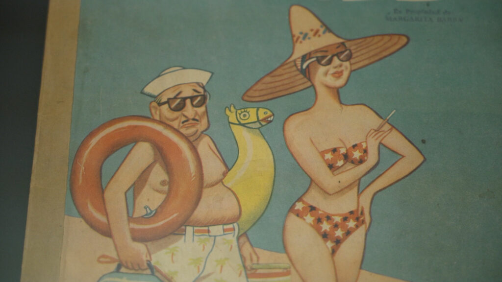 A caracature of a man and woman going to the beach