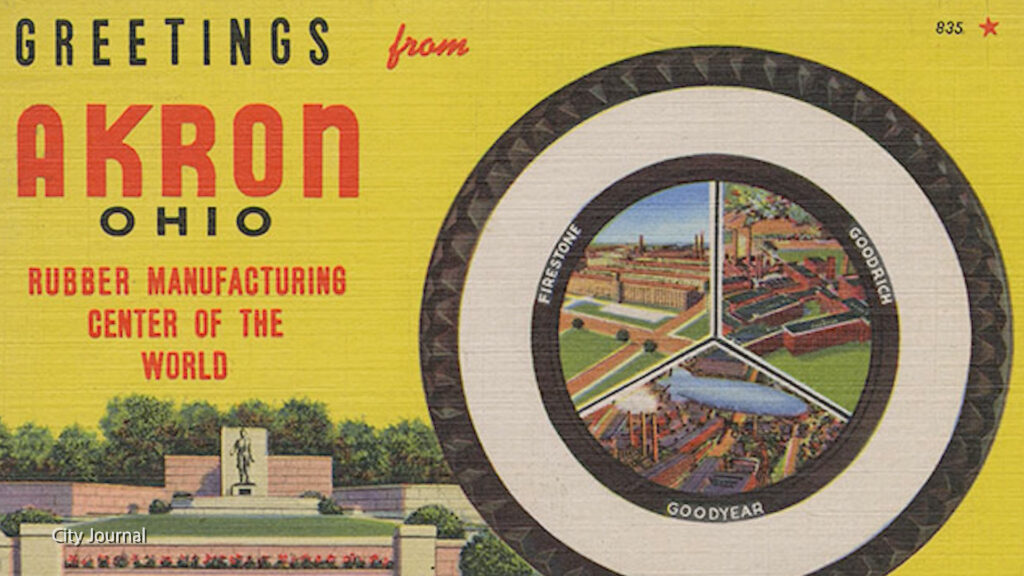 """An old post card that says """"greetings from Akron Ohio, Rubber Manufacturing Center of The World"""""""