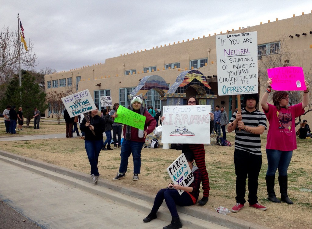 Student protest at Alma d'arte Charter High School in Las Cruces - Monday, 3/2/15 (Credit: Heath Haussamen)