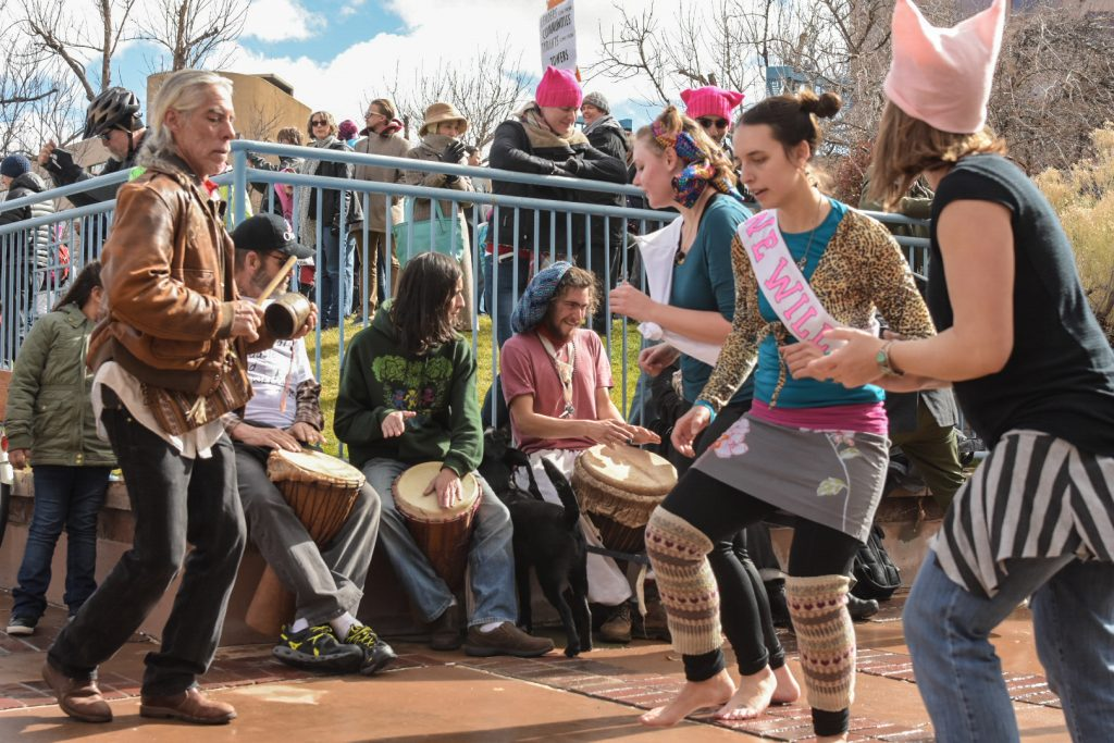 "Musicians play music for participants of the Abq Women's Rally, Saturday, Jan. 21st, 2017, in Albuquerque, NM. The rally in Albuquerque was a single gathering held in concert with hundreds of rallies and marches spread across the country and around the world. The sister rally in Civic Plaza was ""to show solidarity across the nation and at home,"" according to social media accounts affiliated with the rally. (Kevin Maestas)"