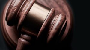 Close-up of a gavel.
