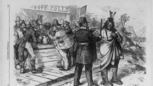 """Antique illustration of white settlers checking a Native person in front of a shack labeled """"THE POLLS""""."""