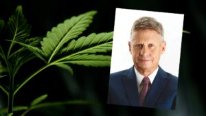 Composite of cannabis leaf, along with portrait of Gary Johnson.