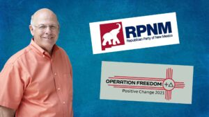 Composite of Steve Pearce with logos for the Republican Party of New Mexico, and Operation Freedom beside him.