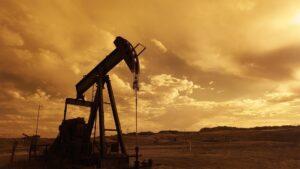 An oil pump at work in the desert.