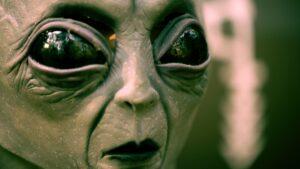 Close-up of a grey alien head.