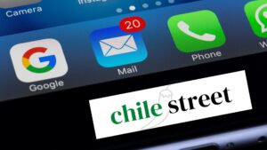 """Composite of iPhone menu dock with logo for """"Chile Street""""."""
