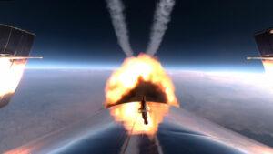 A Virgin Galactic rocket blasts into space.