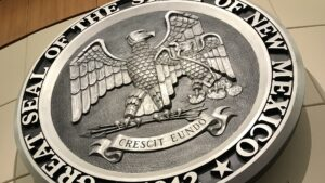 Close-up of the seal of New Mexico.
