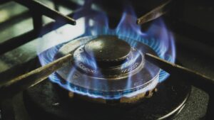 The flames of a burner on a gas stove.