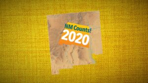 A map of new mexico that says NM Counts! 2020 on a yellow background.