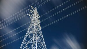 A power tower from a low angle.