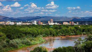 Albuquerque city skyline from the Rio Grande.