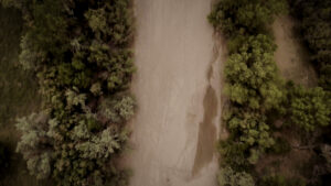 An overhead shot of the Rio Grande dried up.