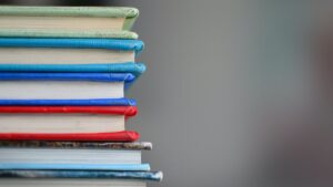 A stack of colorful books.