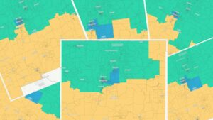 Yellow and Green Maps of New Mexico showing Redistricting Zones