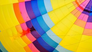 Inside fabric of a colorful hot air balloon