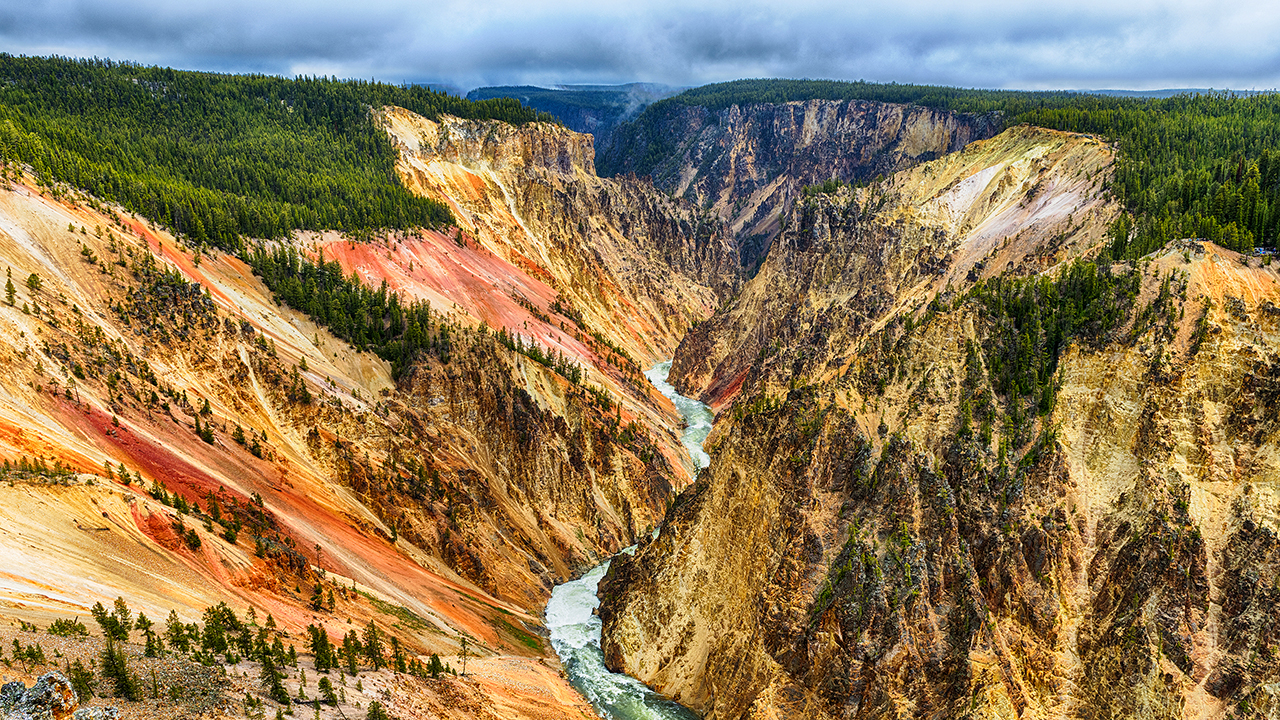 View at a vivid Grand Canyon of the Yellowstone and Yellowstone river seen from Artist Point. Yellowstone National Park, Wyoming, USA; Shutterstock ID 442838848; PO: 4401211287; Job: The Thaw; Client: Ordered by Helen Bishop; Other: x16 stills cleared for use on The Thaw