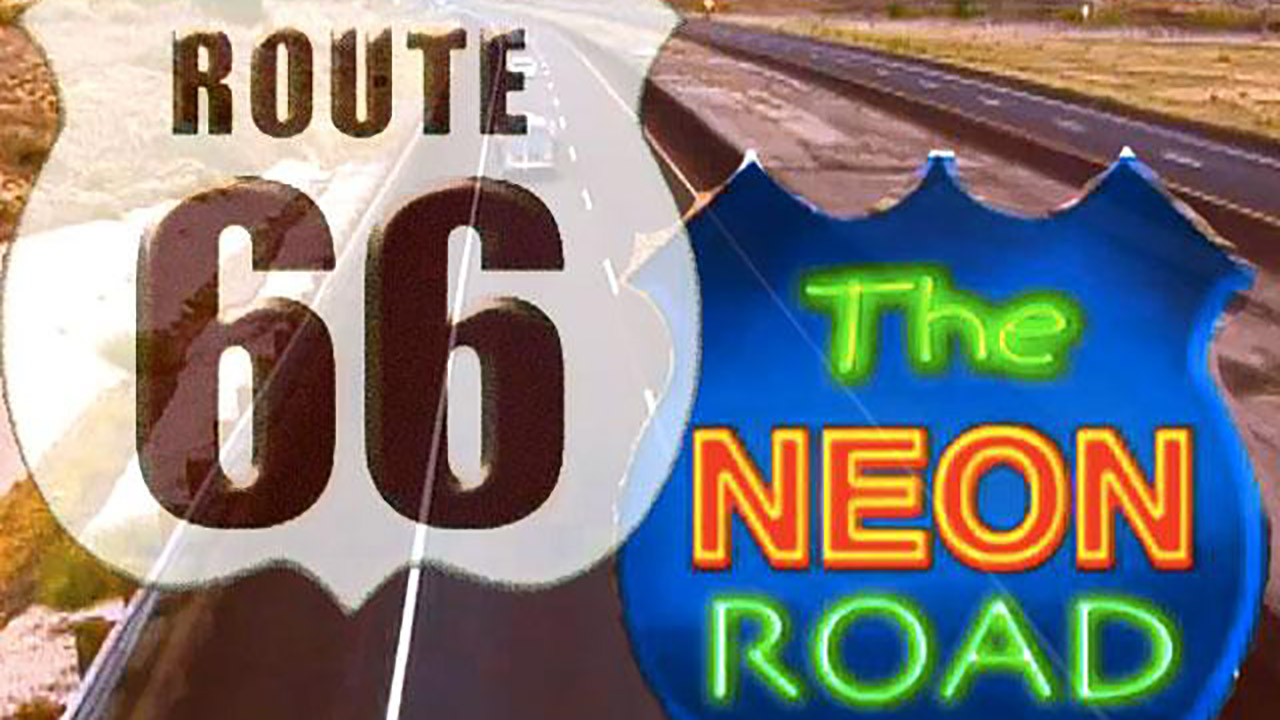 Iconic route 66 neon signs on the next ¡COLORES!