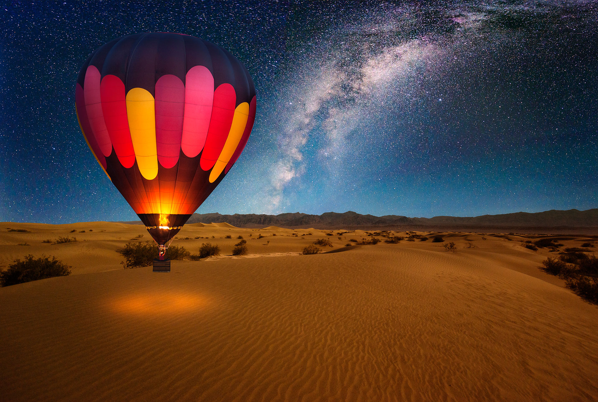 Hot Air Balloon in Desert