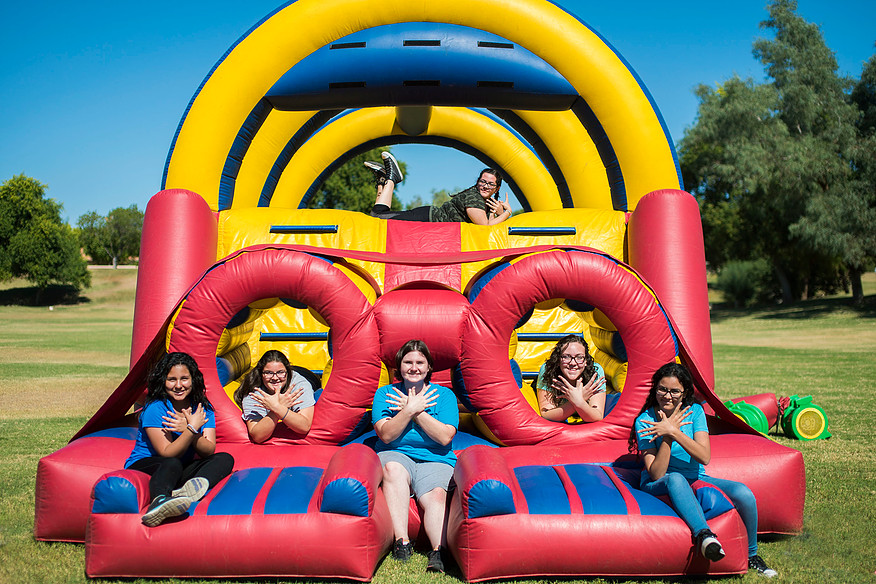 Science Girls in Bouncy House