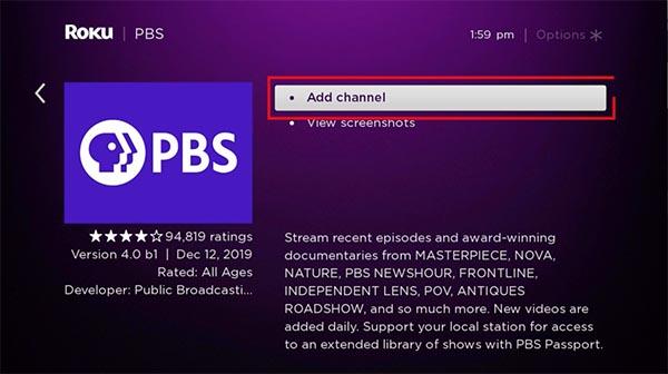Roku Add PBS Channel
