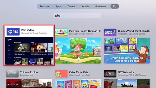 Apple TV Search PBS
