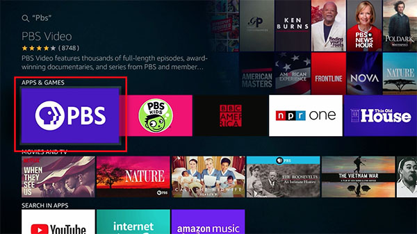 Fire TV Search PBS