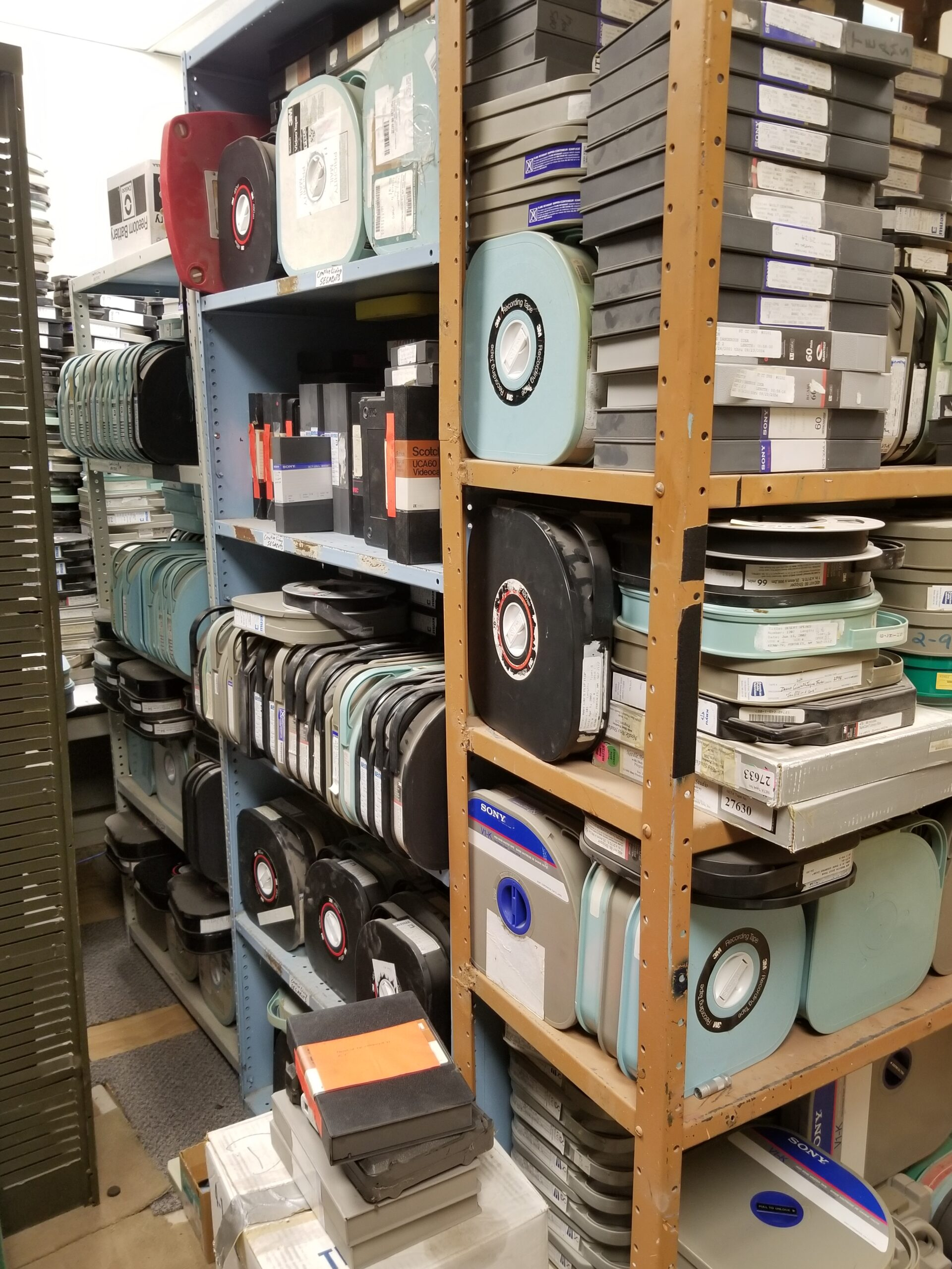 Legacy media tapes and reels in storage at KENW.